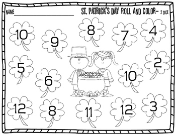 St. Patrick's Day Math-  Roll, Count and Color- Dice Game {with 1 and 2 dice}
