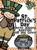 St Patrick's Day Roll and Cover Three Addend Addition Center Activity
