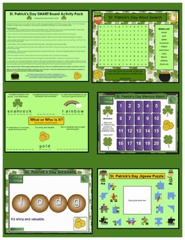 St. Patrick's Day SMART Board Activity Pack ~ 10 Activities, Language and Math