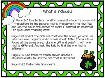 St. Patrick's Day Same and Different Activities and Assessments