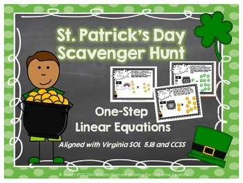 St. Patrick's Day Scavenger Hunt One-Step Linear Equations Virginia SOL Grade 5