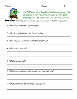 St. Patrick's Day Scavenger Hunt Questions