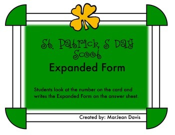 St. Patrick's Day Scoot - Expanded Form