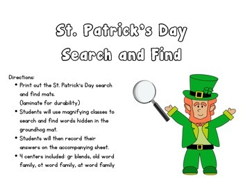 St. Patricks Day Search and find - gr blends, ot, at, old