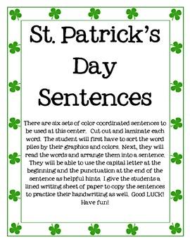 St. Patrick's Day Sentence Center