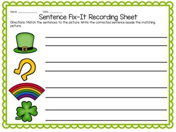 St. Patrick's Day Sentence Fix-It