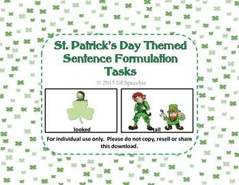 St. Patrick's Day Sentence Formulation Tasks FREEBIE