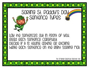 St. Patrick's Day Sentence Sort ELA Station