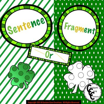 St. Patrick's Day Sentence or Fragment Printable