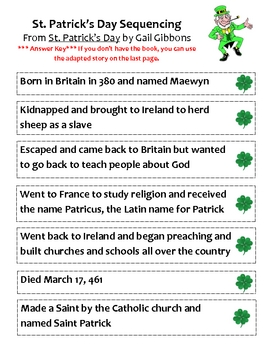 St. Patrick's Day Sequencing and Comprehension
