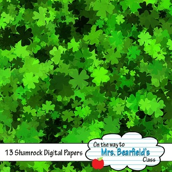 St. Patrick's Day Shamrock Digital Papers