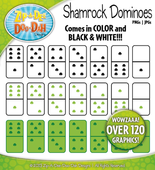 St. Patrick's Day Shamrock Dominoes Clipart {Zip-A-Dee-Doo-Dah Designs}