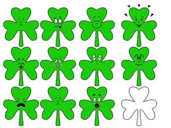 St. Patrick's Day Shamrock Emoticon Clipart