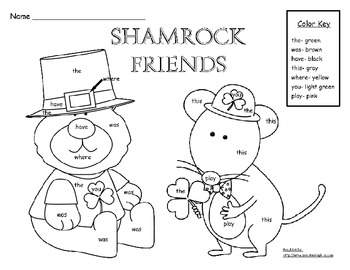 St. Patrick's Day Shamrock Friends Color By Sight Word Printable