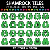 St Patricks Day Shamrock Letter and Number Tiles Clipart