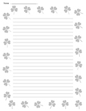 St. Patrick's Day Shamrock Lined Paper