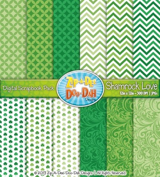 St Patrick's Day Shamrock Love  Digital Scrapbook Pack (12 Pages)