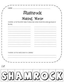 St. Patricks Day: Shamrock Making Words
