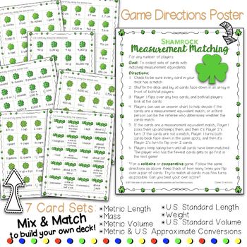 St. Patricks Day Shamrock Measurement Equivalents Matching Card Game, Worksheets