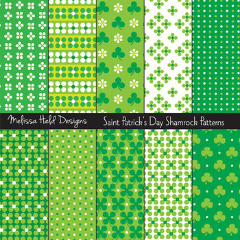 Saint Patrick's Day Shamrock Digital Patterns
