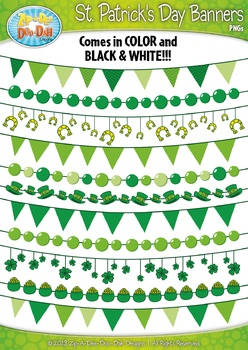 St Patrick's Day Shamrock Pendant Banners Clipart {Zip-A-Dee-Doo-Dah Designs}