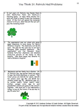 St. Patrick's Day, Shamrocks, Word Problems, Coordinate Drawing & Graphing