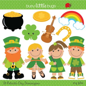 St Patrick's Day Shenanigans Clipart - Includes color and blacklines