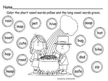 Saint Patrick's Day Short Vowel and Long Vowel Sort
