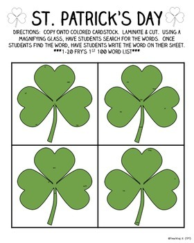 St. Patrick's Day Search & Write Sight Word Activity for K & 1st Grade