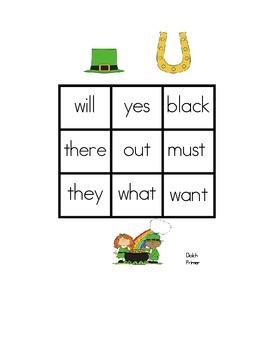 St. Patrick's Day Sight Word Bingo