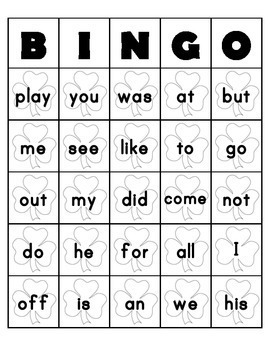 Sight Word Bingo Game Boards St. Patrick's Day