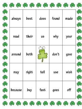 St. Patrick's Day Sight Word Bingo Second Grade Level