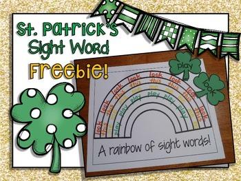 St. Patrick's Day Sight Word FREEBIE