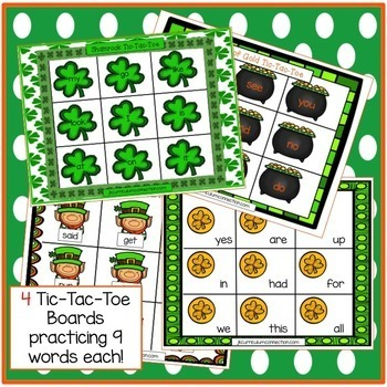 St. Patrick's Day Sight Word Game! Tic-Tac-Toe {EDITABLE}
