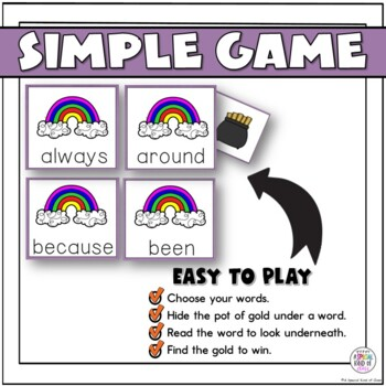 St. Patrick's Day Sight Word Game Grade Two Dolch List