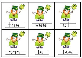 St. Patrick's Day Sight Word Match