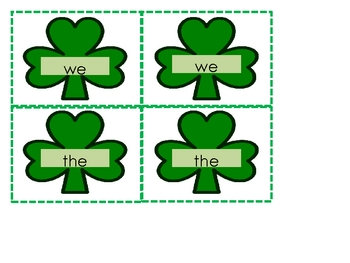 St. Patrick's Day Sight Word Memory
