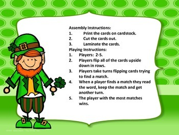 St. Patrick's Day Sight Word Memory Game