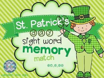 St. Patrick's Day Sight Word Memory Match