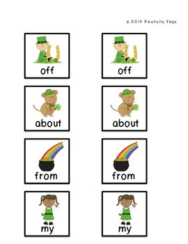 St. Patrick's Day Sight Word Memory/Concentration Plus Take Home Version
