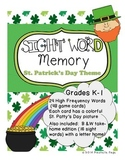 St. Patrick's Day Sight Word Memory/Concentration Plus Tak