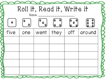 St. Patrick's Day Sight Word Work