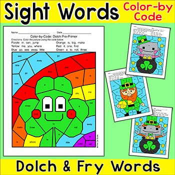 St. Patrick's Day Color by Sight Words Activities: Shamrock, Leprechaun, Robots