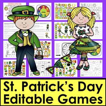 St. Patrick's Day Activities Sight Word Game Boards EDITABLE For Your Own Lists
