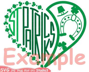 St. Patricks Day Silhouette SVG Cutting Files Shamrock love heart Saint -69sv