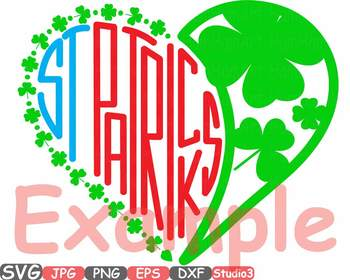 St. Patricks Day Silhouette SVG Cutting Files Shamrock love heart Saint -737S