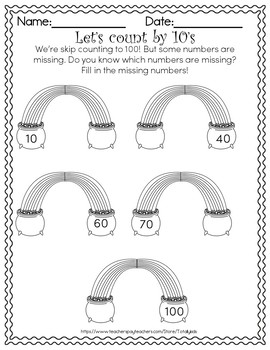 Counting by 10's st. patricks FREEBIE