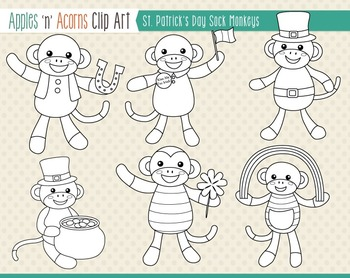 St. Patrick's Day Sock Monkeys Clip Art - color and outlines