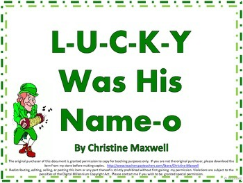 St. Patrick's Day Song And Posters L-U-C-K-Y Was His Name-O