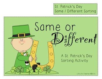 St. Patrick's Day Sorting **FILE FOLDER GAME**